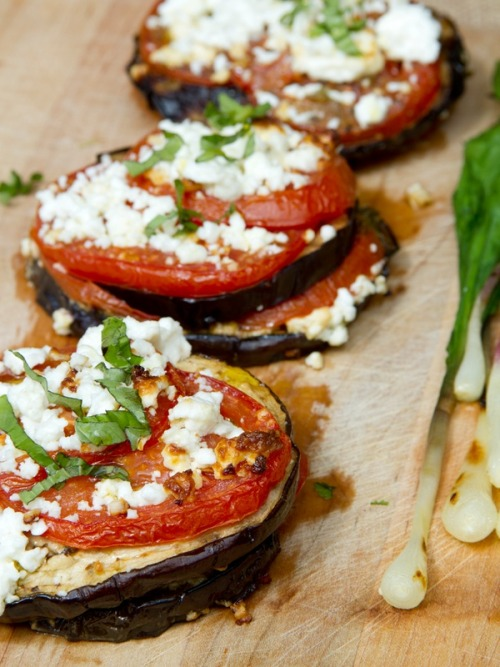 walkonthewilddside:  Grilled Eggplant with Tomato and Feta
