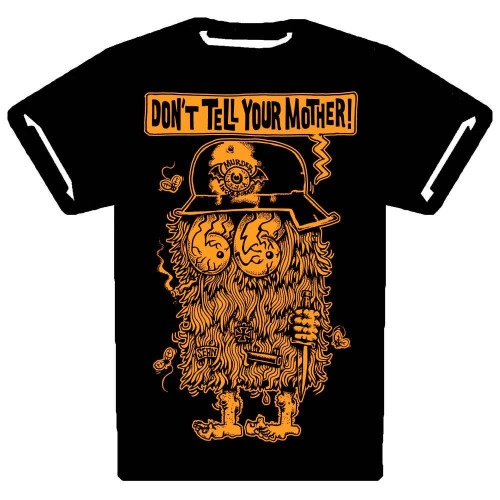 """DON'T TELL YOURT MOTHER"" T-SHIRT. THIS IS A MESSAGE T-SHIRT. HAVE YOU EVER HAD ONE OF THOSE FRIENDS WHO ALWAYS REPORTS BACK TO MOM ABOUT ALL THE KRAZY SHIT YOU'VE BEEN DOING? LIKE THE TIME HERMAN TOOK HIS GRANDPA'S GUN TO SCHOOL, THE ONE WITH THE ORNATE, IVORY HANDLE SO THAT WHEN THE GANGSTERS FROM THE RIVAL MIDDLE SCHOOL CAME TO KILL HIM IN THE BART PARKING LOT HE COULD DEFEND HIMSELF? YOU HAD TO TELL YOUR MOTHER DIDN'T YOU? JESUS CHRIST MAN. DON'T TELL YOUR MOTHER. OR THE TIME WE WERE MAKING BOMBS & THE MIXTURE STARTED BURNING UNCONTROLLABLY & WE HAD TO STOMP IT OUT BUT SOME OF THE BURNING NAPALM GOT ON YOUR ARM & YOU WERE TOO MUCH OF A WIMP TO JUST DEAL WITH THE BURNS SO YOU WENT & TOLD YOUR MOTHER? REMEMBER THAT? DON'T TELL YOUR MOTHER. I'M LOOKING AT YOU KID, SCARED OF THE WORLD & ITS CONSEQUENCES. YOU CAN EITHER GET IT TOGETHER, OR YOU CAN GO RUNNING TO MOMMY. THIS SHIRT REMINDS YOU OF THE SECRET RULE #13. GITTUM GITTUM. SAVE YOUR PENNIES. DON'T TELL YOUR MOTHER."