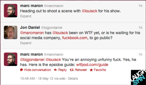 Wow! First Artie Lange, now Marc Maron confirmed to do an episode of Louie! This exchange with a rude fan on Twitter made me laugh.  Premieres on F/X June 28th at 10:30 pm! Click to read a transcript that explains Louis CK and Marc's rocky friendship:  Louis C.K.: What I can say as far as trying to stay friends with somebody that you have a hard time thinking about what they're doing against with what you're doing is focus on them needing a friend. It takes a good friend to stay with you in hard times; it takes a good friend to stay with you in good times. Everybody needs support. So, you're letting me down – if you see me doing something and you have a hard time coming to terms with it because [of what] you're feeling about your own life, what's really happening is you're letting me down as a friend, by being jealous. So, think about the other person. Think about what they might need. I could've used you. I got divorced. I got a show canceled. You know, I had some tough times; I could've used a friend during those times that were making you jealous, I was struggling. I was having a hard time. Doing the Louie show was really hard, trying to keep my family together. It was hard.  Marc Maron: But the thing is with the way our friendship always operated, it's was not that I was kept up to date on the day to day things, it wasn't a day to day call that we had. It seemed like most of the time that made our friendship so deep and so strong, was that when we did talk, we made each other feel better.
