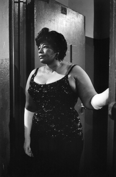 "life:  The regal Ella Fitzgerald, backstage before singing at a ""Birthday Salute"" in honor of JFK at Madison Square Garden, New York, May 19, 1962. See more photos here."