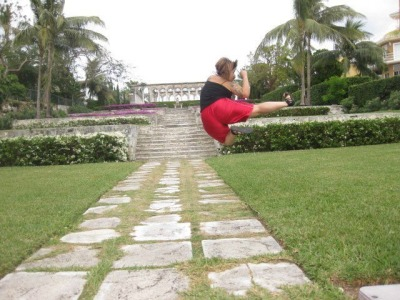 flying sidekick on Paradise Island, Bahamas - I'm a brown belt - I'm fit and I am fat or curvy whatever :) I am a person, and I am fabulousity <3 who else is fit and fat?!