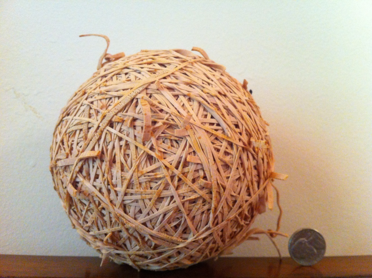 Old rubber band ball.  Went into retirement in 1999. (paper clip center)