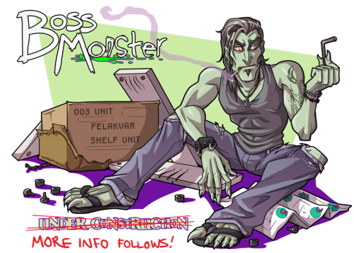 "BOSS MONSTER IS ONLINE. This was the picture I had up for a long long while as a placeholder (it may look more familiar here on tumblr!), so no one stumbled onto a page full of half-finished code and partial pages, but now we are open with 4 pages up for reading! I am going to start trying to settle into weekly updates, and within the next two months, get more and more webcomickerly things set up with it, but for now, you can relax and start to read. It is far from perfect and still needs some polish, but a thing like this is in a sort of constant ""beta"", as I am new to websites, but WILL get this running and out there for public consumption."