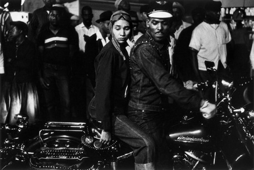 hollyhocksandtulips:  Biker couple, Indianapolis, 1956  Photo by Robert Frank