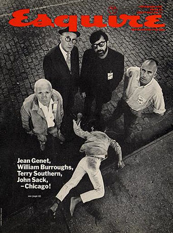 Famous Esquire issue from 1968. The magazine had sent William S Burroughs, Jean Genet, Terry Southern and John Sack to Chicago to cover the DNC. Here's the story behind the cover: http://www.pbs.org/newshour/convention96/retro/fischer.html