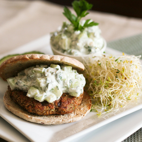 phagosome:  Quinoa Burger and Tzatziki-2 by Sonia! The Healthy Foodie on Flickr.