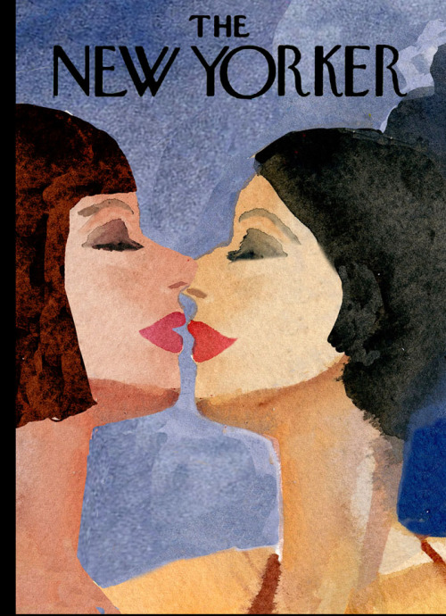 "blowncovers:  ""The Gays"" Contest: Runner-Up #2 By Gayle Kabaker A beautiful, sensual image. A woman's face is the quintessential magazine cover, so these two women work well here. I like that they're about to kiss, so it makes you anticipate the next moment. The women feel both abstract and specific."