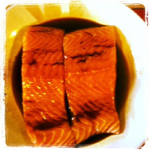 Teriyaki salmon marinating…… (Taken with instagram)