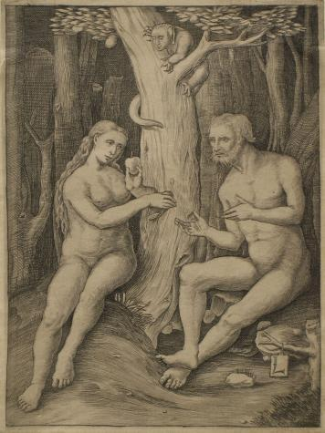 Lucas van Leyden, The Temptation of Adam and Eve, 16th century. Kemper Art Museum