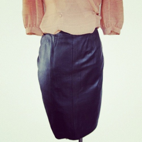 Fashion tip: add leather to your outfit for an edgier look. Skirt available on www.labeldoll.com now! (Taken with instagram)