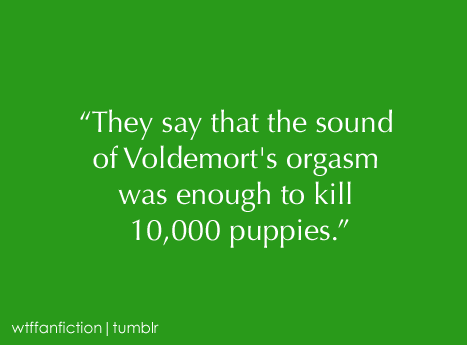 "wtffanfiction:  Fandom: Harry Potter ""They say that the sound of Voldemort's orgasm was enough to kill 10,000 puppies."""