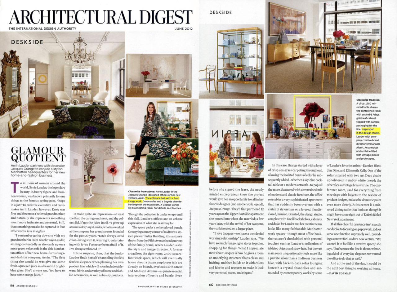 "Just out in the June issue of Architectural Digest- a very nice surprise to see my work featured in this article about Aerin Lauder's new office! All I can say is ""Thank You, Aerin!"""