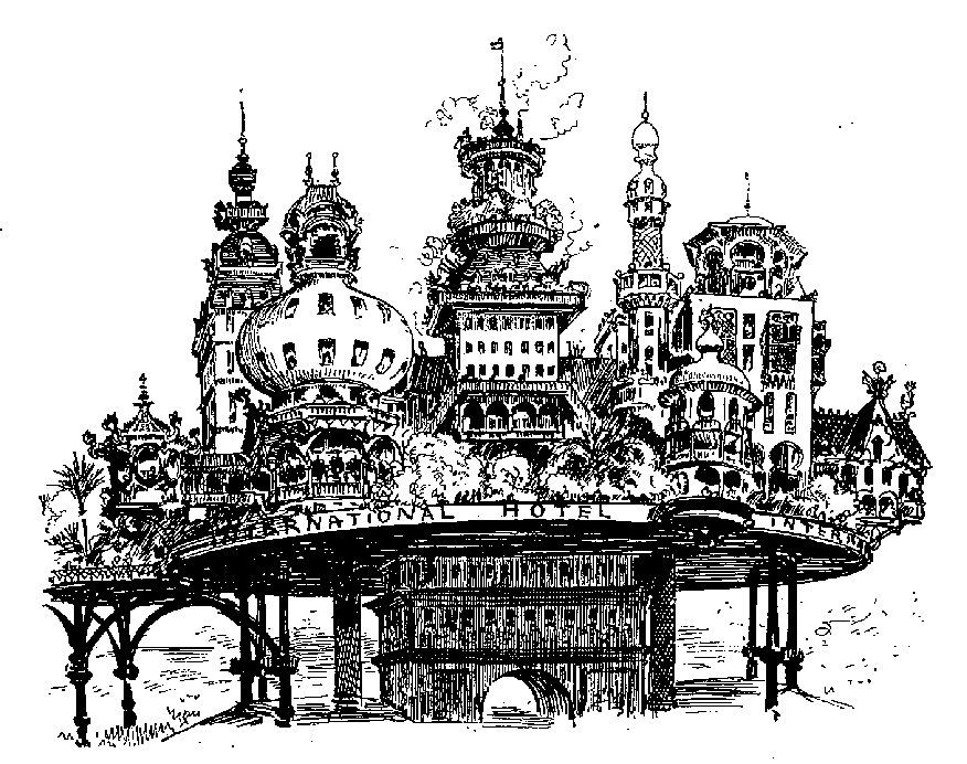 An 1883 fictional project to build a hotel on top of the Arc de Triomphe, Paris