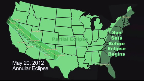 "Send Us Your Solar Eclipse Images! According to Space.com—  The full ""ring of fire"" effect will be visible to observers in parts of eight states in the western United States during the late afternoon and evening Sunday. Much of the rest of North America will be treated to a partial eclipse. Several different organizations will broadcast live footage of the solar eclipse Sunday, as seen through telescopes in various locations around the world. Viewers can track the eclipse as it moves from East Asia, crosses the Pacific and darkens the skies over much of western Northern America. SPACE.com will offer several of the solar eclipse webcasts for readers.  You can submit images here Image: This NASA graphic of the United States depicts the path of the annular solar eclipse of May 20, 2012, when the moon will cover about 94 percent of the sun's surface as seen from Earth. CREDIT: NASA/JPL, Jane Houston Jones"