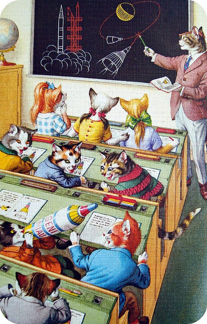 Space cats? Space cats! We can't get enough of this vintage postcard discovered by Flickr user Dear Detective.