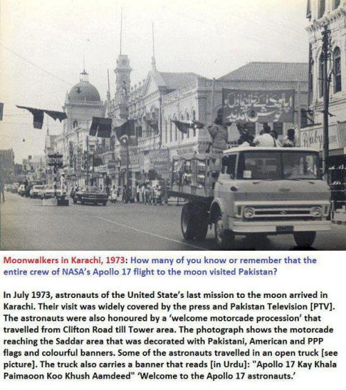 "Moon walkers in Karachi (1973). When there was still love between Pakistan and USA, Apollo 17 Astronauts made it to Pakistan on an official state visit and were paraded through streets of Karachi. At expense of sounding cheesy it actually does remind of a vintage Pakistani song, ""wo jo hum main tum main qarar tha, tumhay yaad ho kay na yaad ho"" (the special connection which was there once between us, you might not remember it anymore). (photo via desvas, post via umalik) Follow us on Facebook 