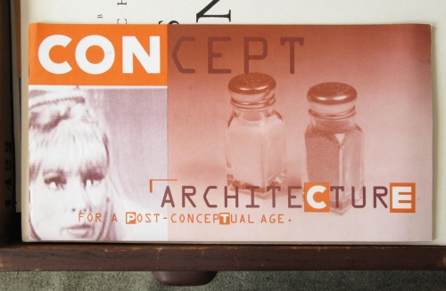 The catalogue for an exhibition titled: Concept Architecture for a Post-Conceptual Age.  I designed this in 1988.