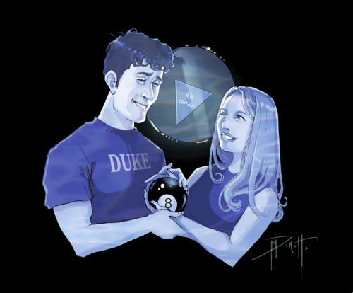 An 8 ball themed wedding portrait commission