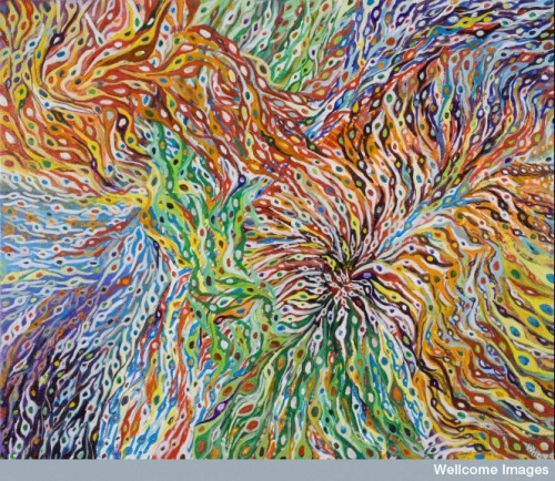 Neuronal migration is an artwork depicting many very young neurons that have been produced in the neuroepithelium migrating to their appropriate destinations in the brain. This image highlights the future of neuroscience showing different classes of cells colour coded. There is no available technique to do this now, but it is not far off considering the advances that have been made with brainbow mice. The brainbow technique allows for different cell types to be tagged with fluorescent proteins to track their development and connections with other cells. Find and use this image on Wellcome Images.