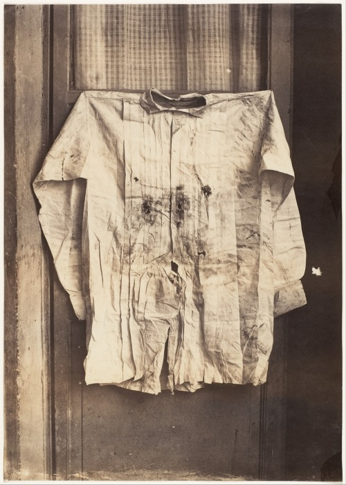 "tuesday-johnson:  ca. 1867, ""The Shirt of the Emperor, Worn during His Execution"", François Aubert  This grisly photograph depicts the bullet-riddled shirt of the Austrian Archduke Maximilian I, who was appointed Emperor of Mexico by Napoleon III in 1864. Maximilian's puppet regime lasted only three years; when the French army withdrew from Mexico in 1867, he was captured, tried, and executed by the nationalist supporters of Benito Juarez. Aubert, a French photographer working in Mexico, photographed Maximilian's corpse and clothing, producing a sensational and somewhat gruesome record of the execution and the politically charged relics of the slain emperor.  via the Metropolitan Museum of Art, Photographs Collection"