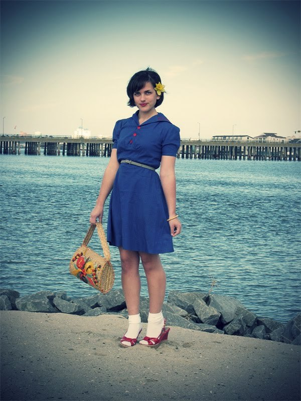 1940s Sailor Dress: Bad Girl Vintage on Etsy Purse: in my shop! Shoes: Walmart of all places for $5  Quincy of Q's Daydream