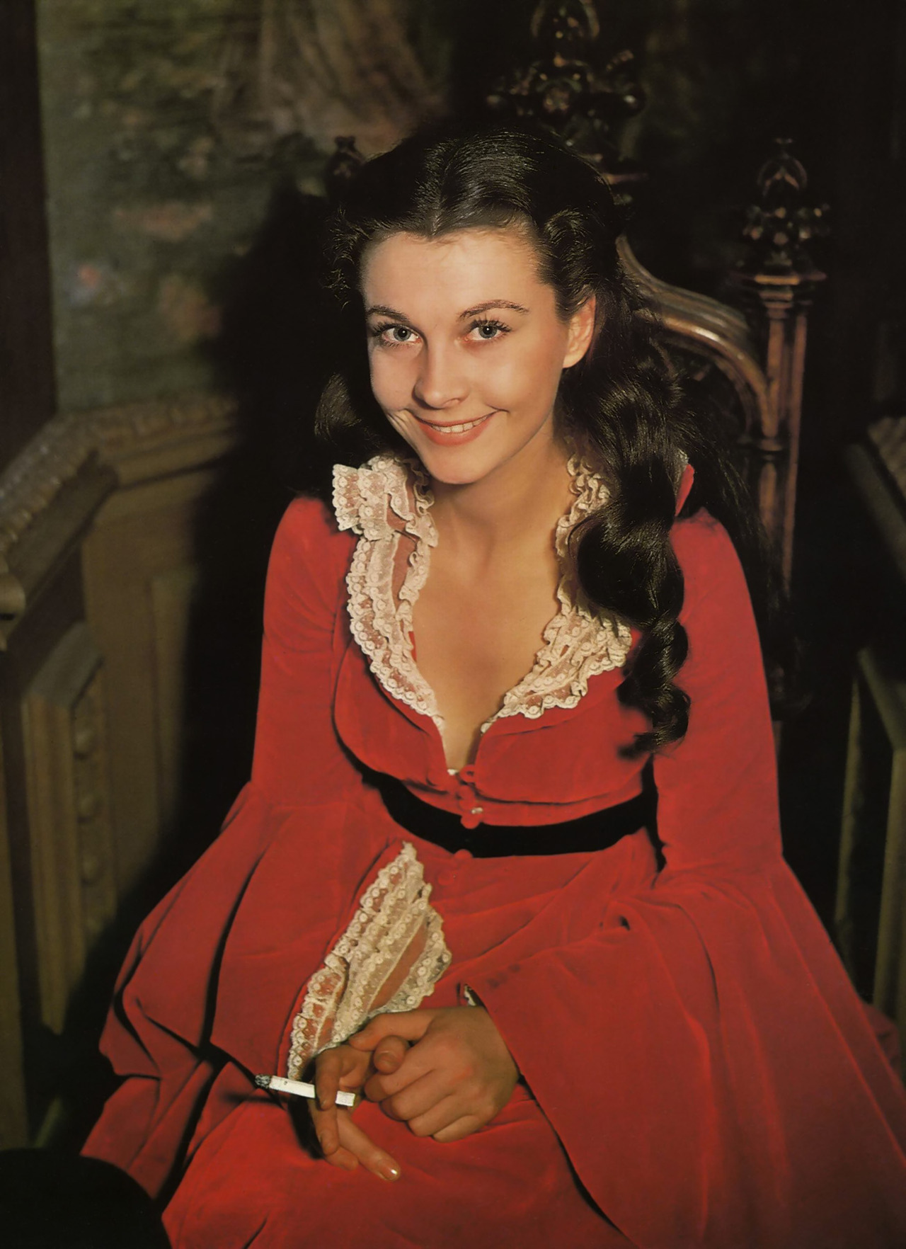 thatsjustelegant:  A colour photo of Vivien Leigh behind the scenes of Gone With The Wind, 1939.