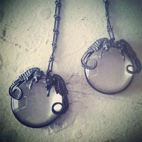 bloodmilk:  Ariel. Conjoined seahorse spyglass necklaces. bloodmilk sea witch line.