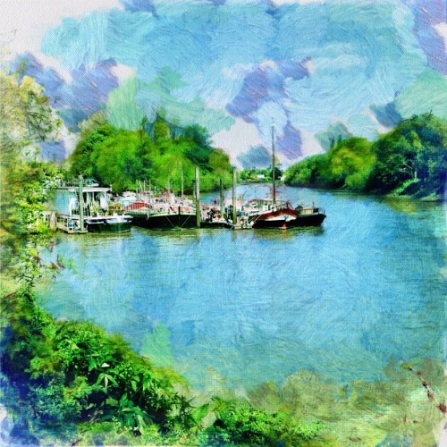 Painterly Houseboats (Taken with Instagram at Richmond Upon Thames)
