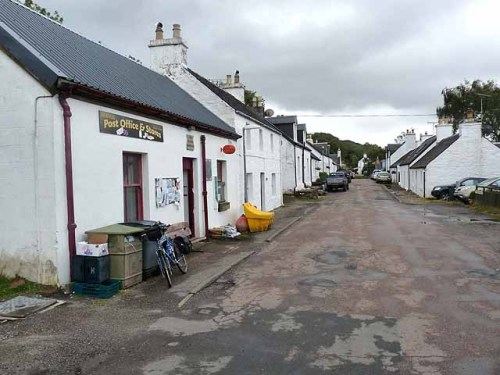 Dervaig Post Office and main street, Dervaig, Argyll & Bute, Scotland