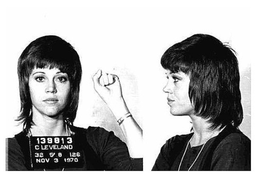 "Hanoi-Jane, sticking it to the man in ""Klute"" hairdo is my everything! How come none of the girls in RPDR drew inspiration from this in their mugshot mini-challenge? Shame, shame.."
