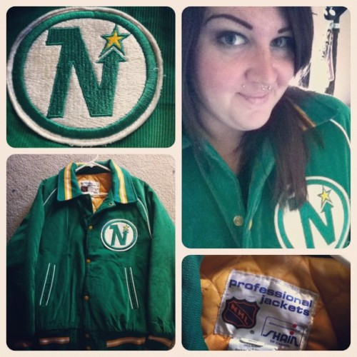 Today's Vintage Find!! $14! Old School…#nhl #icehockey #vintage #retro #hockey #minnesotanorthstars #northstars #minnesota #jacket #thrifting #thrift #oldschool #oldschoolhockey (Taken with instagram)