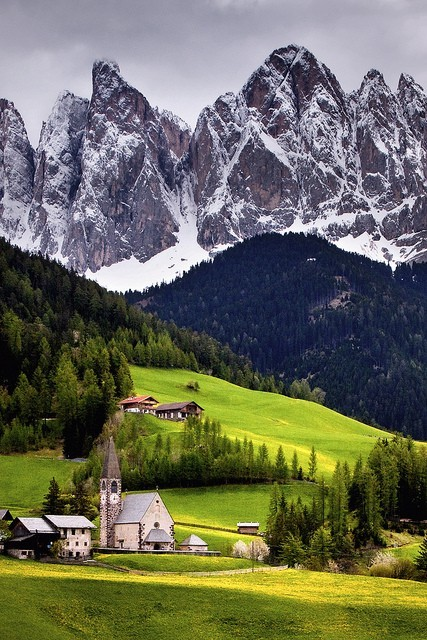 "save999things:  #59. Dolomites, Italy (Val di Funes) ""How to get the best of it all? One must conquer, achieve, get to the top; one must know the end to be convinced that one can win the end - to know there's no dream that mustn't be dared… Is this the summit, crowning the day? How cool and quiet! We're not exultant; but delighted, joyful; soberly astonished… Have we vanquished an enemy? None but ourselves. Have we gained success? That word means nothing here. Have we won a kingdom? No… and yes. We have achieved an ultimate satisfaction… fulfilled a destiny… To struggle and to understand - never this last without the other; such is the law."" George Mallory"