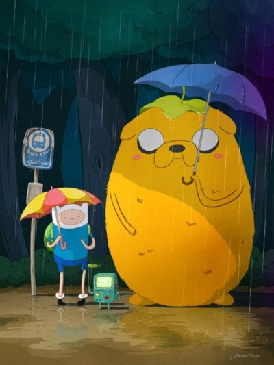 clatterminded:  Adventure Time x Totoro