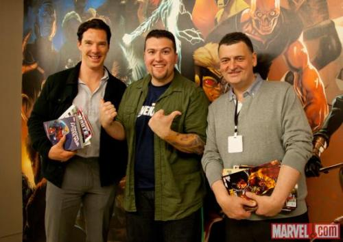 Courtesy of the illustrious @Agent_M on twitter, photos of Benedict Cumberbatch, Steven Moffat and Sue Vertue visiting Marvel (<—- click link to see all pics)!