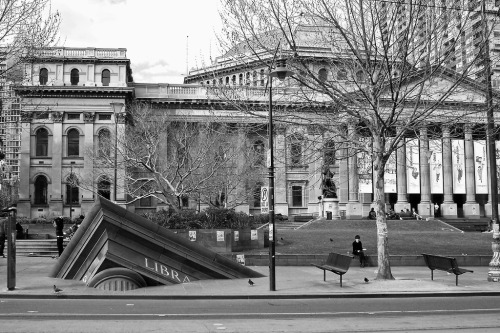 Architectural Fragment by Petrus Spronk Sculpture at the State Library of Victoria in Melbourne.