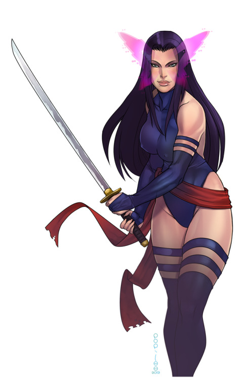 La pin-up del giorno: Psylocke, di Pop-Lee. fuck-yeah-psylocke:  Psylocke by pop-lee