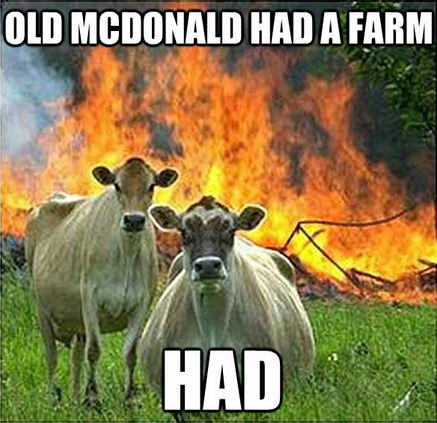 tastefullyoffensive:  [via]  Who knew those innocent looking cows could be such clever arsonists…