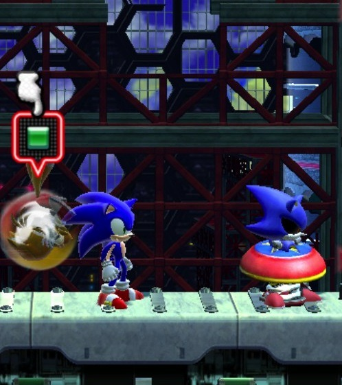 Playing Sonic 4 Episode II with Kanda, and we get this. Took a few minutes to get Metal Sonic unstuck.