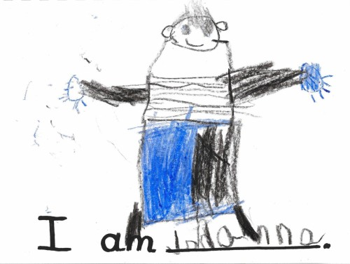 """I am Johanna"" 1997 (Age 5) Crayon Picasso had a ""Blue"" period. I had a ""Fat Neck and Spider Hands"" period."