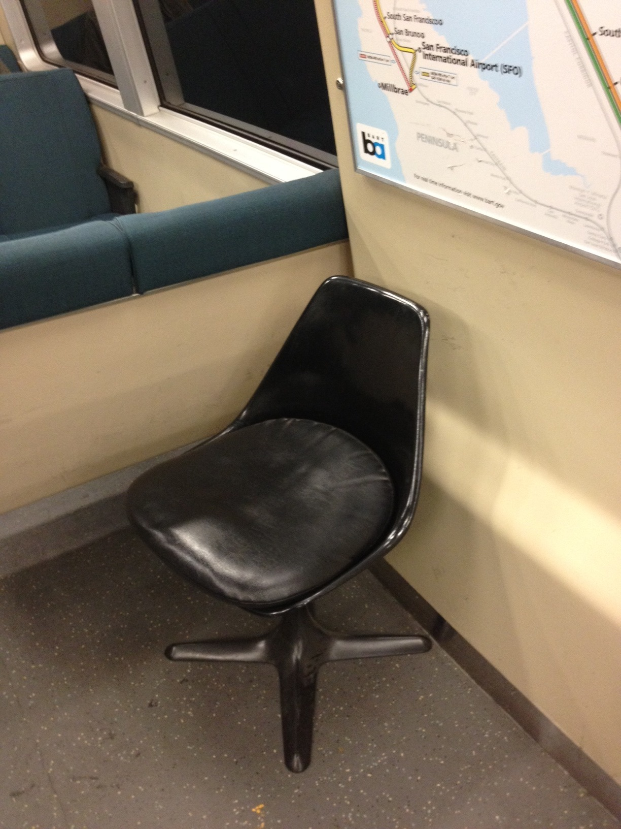 vicwomg:  The new BART seats are awesome! Who knew they would take design inspiration from the USS Enterprise and install vintage Burke 115 fiberglass swivel chairs!  This is amazing!