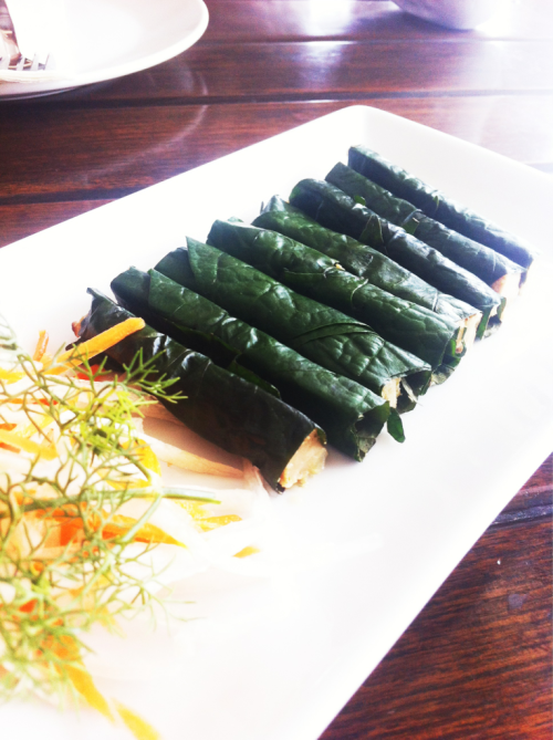 Vietnamese food: minced pirk wrapped by fermented tea leaf