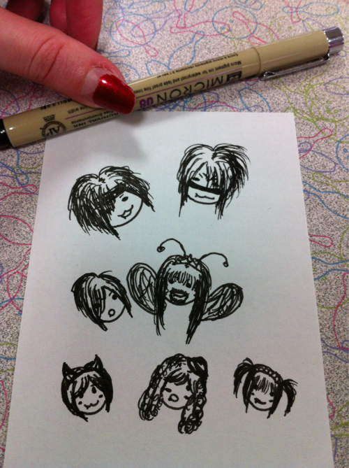 Doodling while I wait for my turn to bowl. It's a floating heads kind of day.