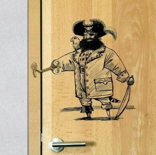 Door latch pirate design win