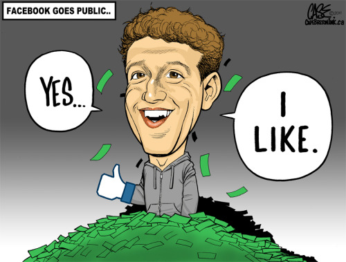Zuckerberg, what a story… I just finished this cartoon this evening.  Facebook is now worth more than one hundred billion dollars.