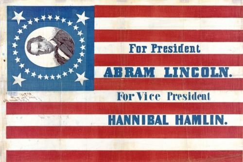 "Poster from the 1860 election between Republican Abraham Lincoln and Democrat Stephen Douglas. Lincoln's first name was commonly misspelled as ""Abram"" during his candidacy. (Library of Congress) More prez posters (…Sideways young Lincoln is really bugging me. ^KC)"