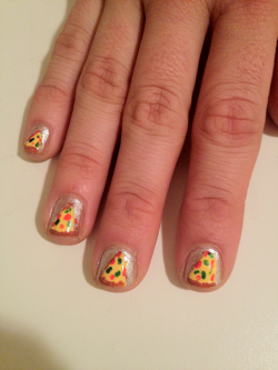Pizza nails!   In celebration of National Pizza Party Day! Huzzah! Pizza!