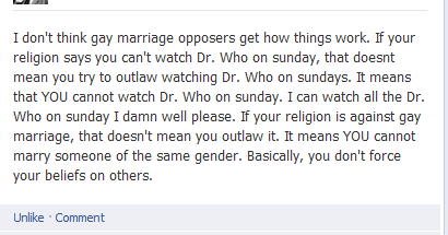 thelyragw:   Did this person just argue for gay marriage while referencing Doctor who?      *Doctor