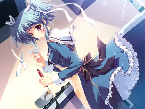 "Hey Anime Girl Lovers~  ♪Say Hello~ To:Sakuno Uryuu (瓜生 桜乃)My Love From:""Mashiroiro Symphony: The Color of Lovers""#939[[The Ranking System that makes no sense]] ~Pham's Ultimate Weapon Of Moé and Cuteness Level Ranking System~ I haven't been posting much `Cause I can't find the time to type up my ranking system. This new job I have eats up a lot of time.  I may have to start doing a shorter version of the system. +4 Sakuno is the younger sister of the male protagonist she as a quiet personality and is good at cooking, but has a poor sense of direction and often gets lost. I mostly like her for her personality and hair.  +4 Cute short blue hair with ribbons~ Very nice~ It goes well with her red eyes and uniform. +4 Uniform is super cute~ I love the style and shape of it~ The frills just add to the cuteness.  Its simple but cute~ I love it ♥   +4 Love the look on her face~  Its super cute the way she's blushing like that. +3 Pose is nice~ She seems to be cooking and now turning around to look at the male protagonist. =19 [[A random number that doesn't mean much.]] Sigh* People of Japan, you are in my prayers."