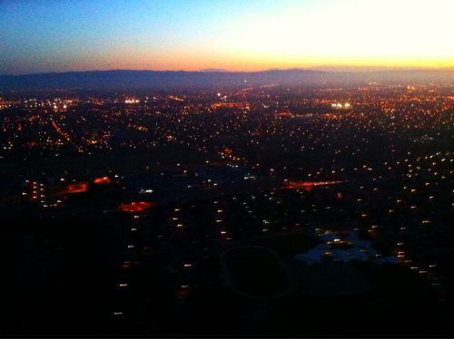 tdpilot:  City lights at Sunset over San Jose