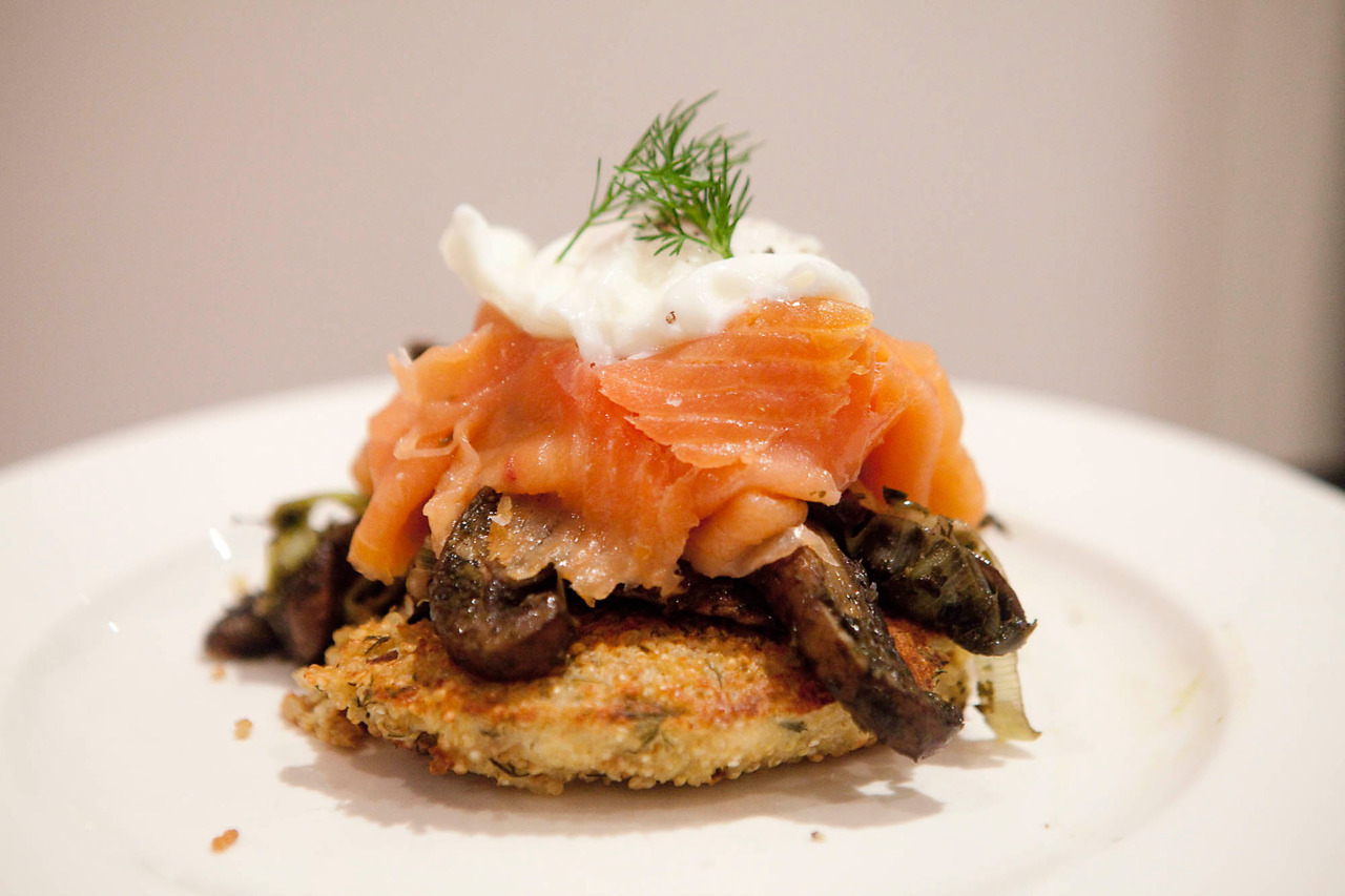 Dill Quinoa Cakes with Sauteed Mushrooms and Leeks, Smoked Salmon and Poached Egg I was really excited to try this recipe for quinoa cakes, but as usual, I didn't really read it, and I probably should have.  My cakes didn't really stay together, so my suggestion?  Follow the recipe, but add a little chopped leek and feta for extra flavor.